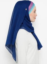 Navy Blue - Plain - Cotton - Instant Scarf