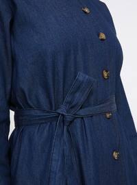 Navy Blue - Crew neck - Unlined - Cotton - Denim - Dress