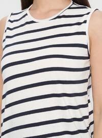 White - Navy Blue - Stripe - Crew neck - Cotton - Tunic