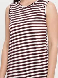 White - Maroon - Stripe - Crew neck - Cotton - Tunic