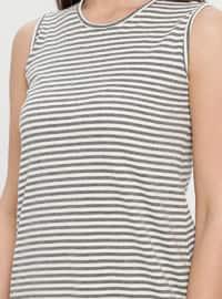 White - Gray - Stripe - Crew neck - Cotton - Tunic