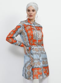 Blue - Orange - Multi - Point Collar - Blouses