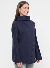 Navy Blue - Polo neck - Cotton - Blouses