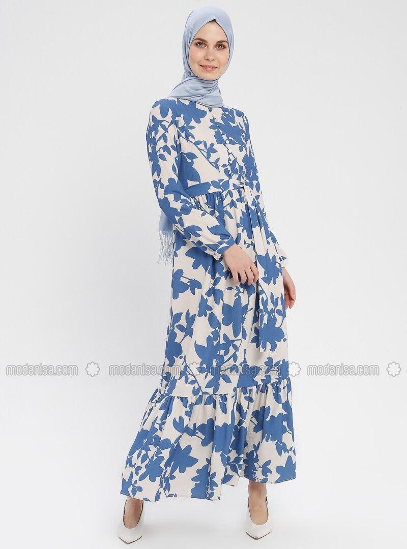 790e05aed9b Indigo - Floral - Button Collar - Unlined - Dress. Fotoğrafı büyütmek için  tıklayın