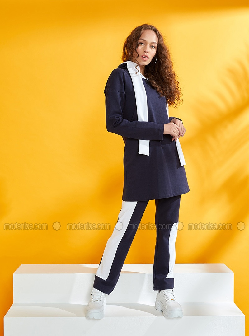 White - Navy Blue - Unlined - Cotton - Suit