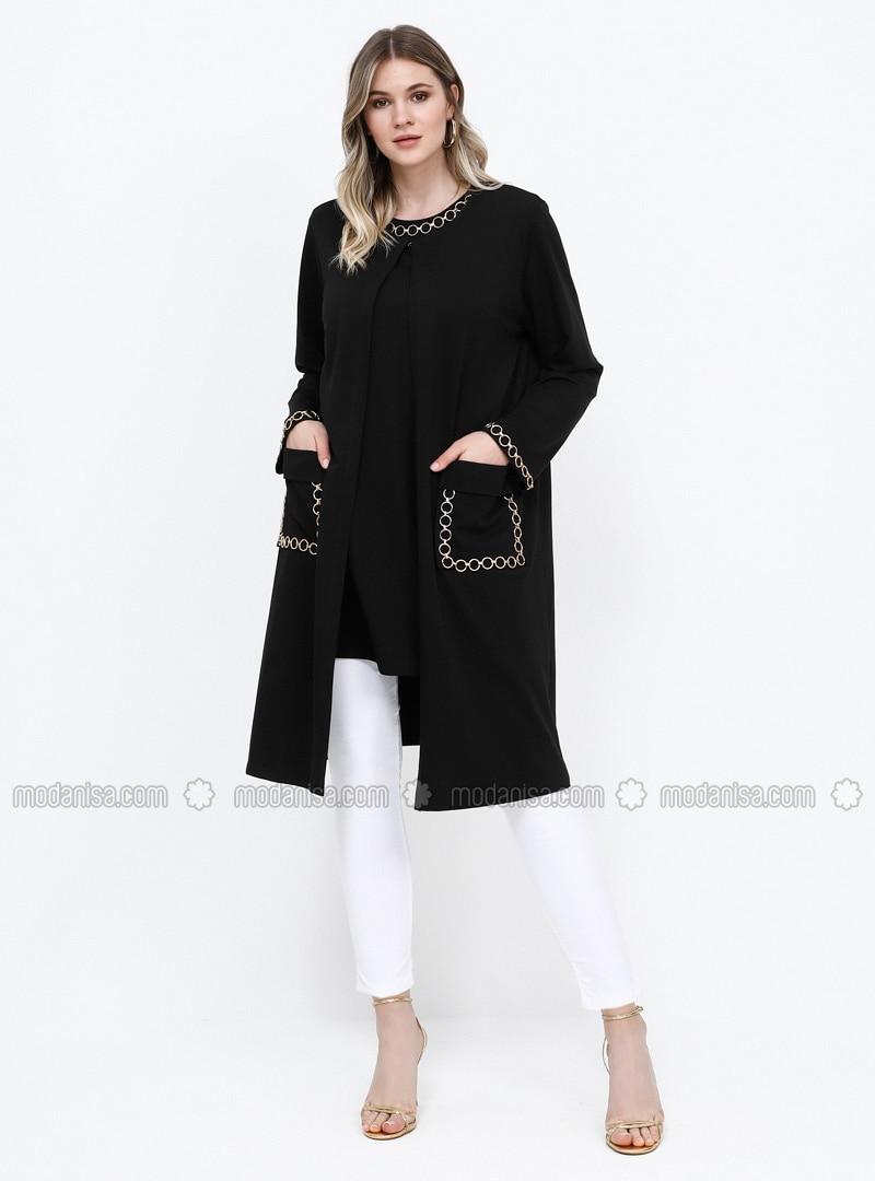 Black - Crew neck - Unlined - Cotton - Plus Size Suit