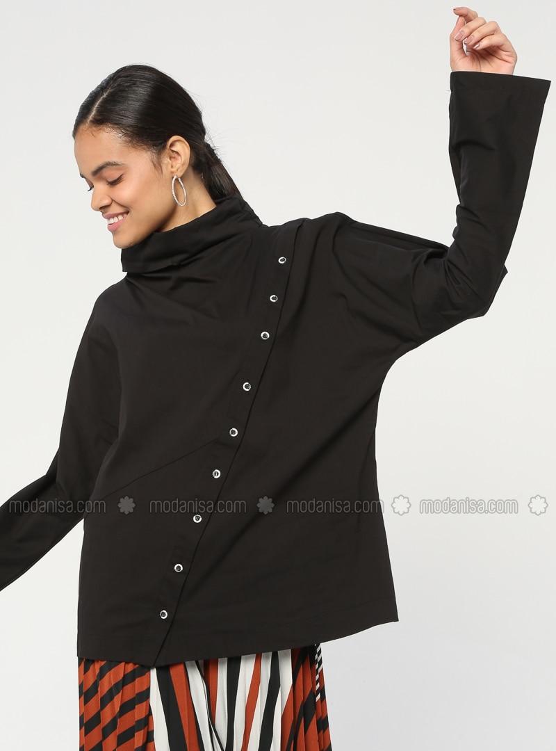 Black - Polo neck - Cotton - Blouses