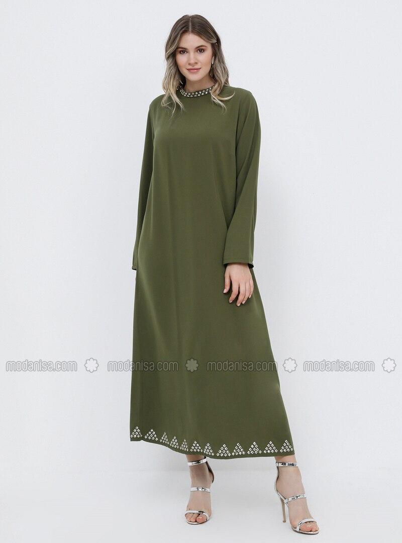 Khaki - Unlined - Polo neck - Muslim Plus Size Evening Dress
