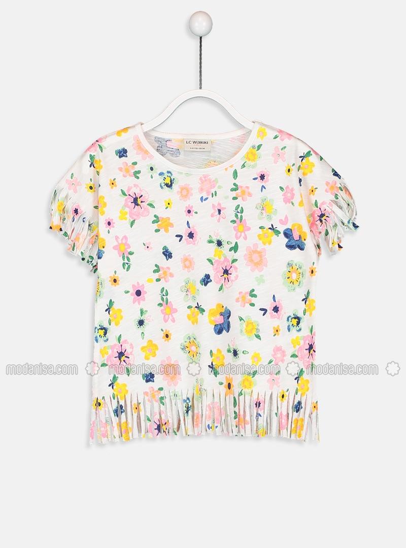 Ecru - Crew neck - Girls` T-Shirt
