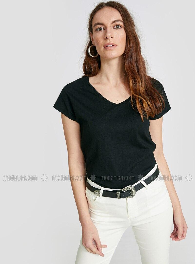 Black - V neck Collar - T-Shirt
