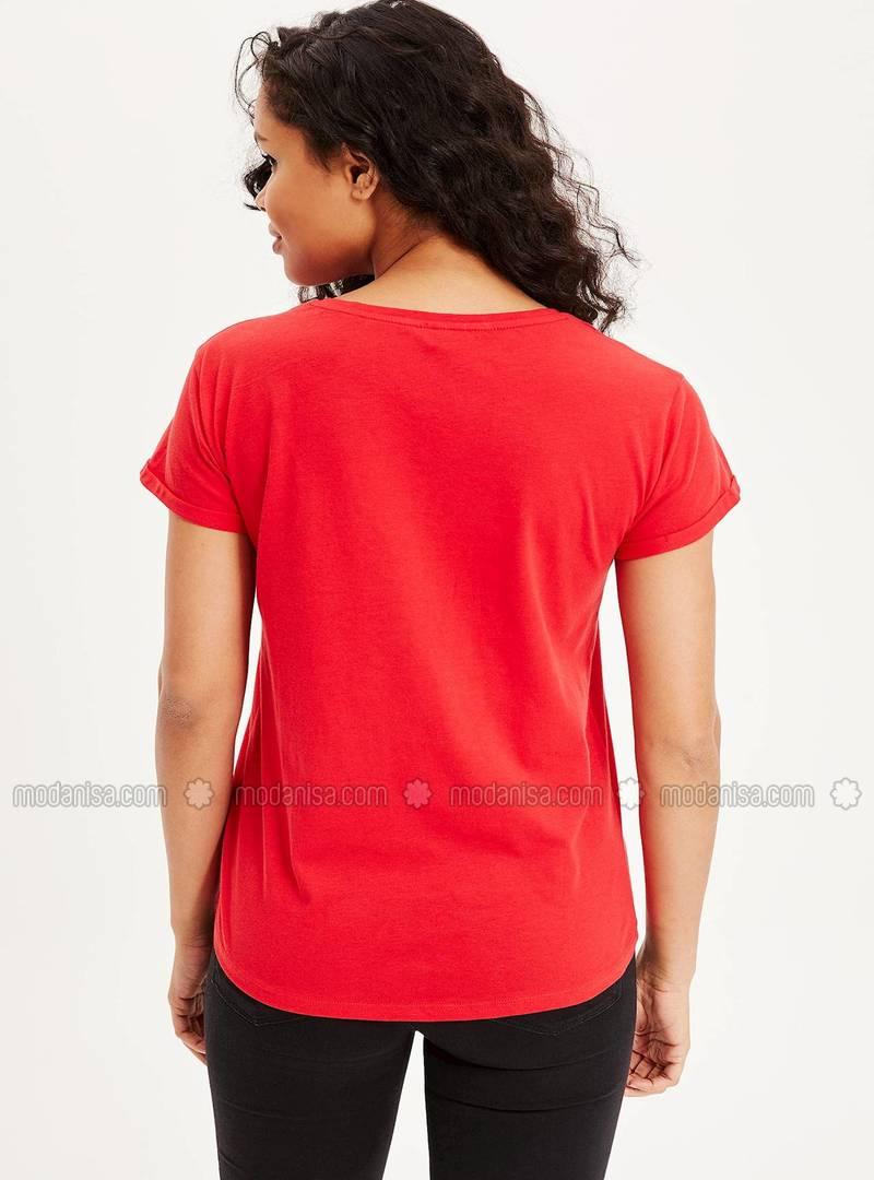 cdd90bd810ccc Uzay Figürlü Kısa Kollu T-shirt - Kırmızı