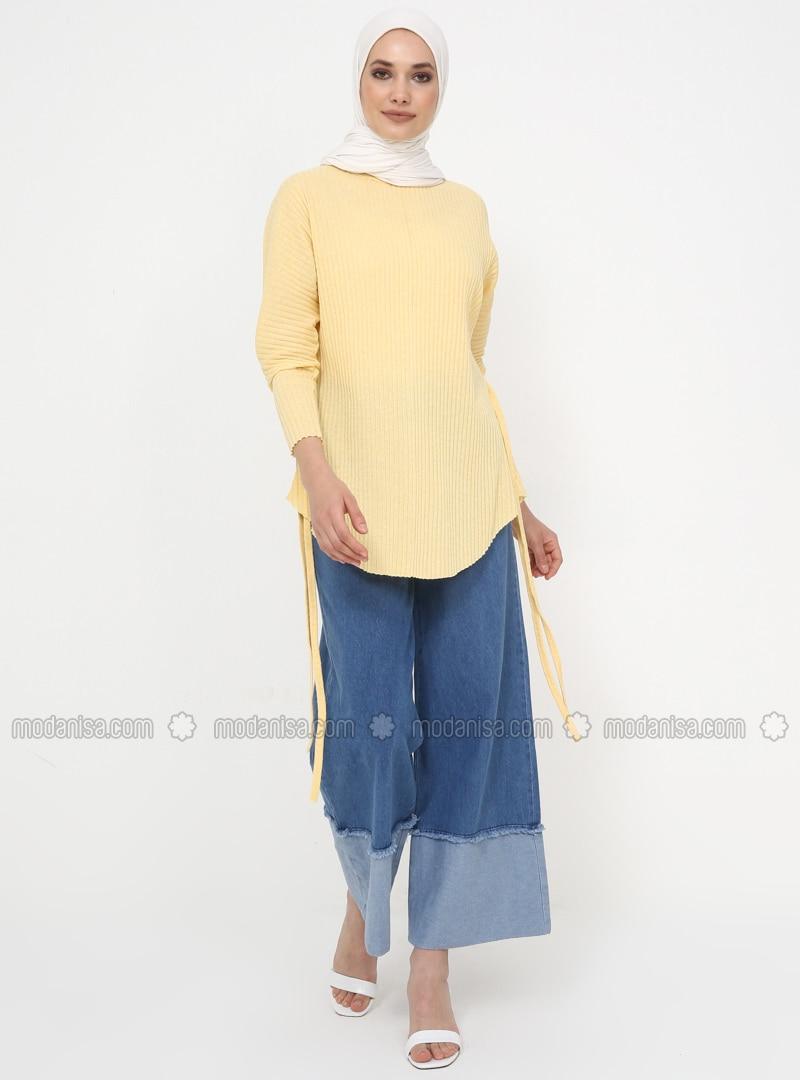 Yellow - Crew neck - Cotton - Tunic