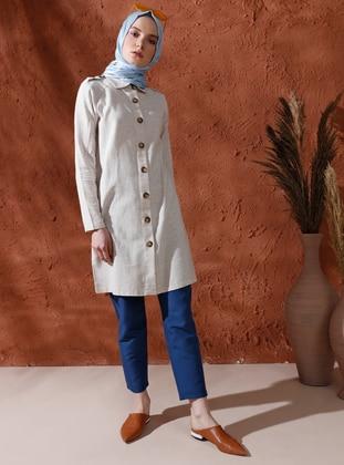 Beige - Unlined - Round Collar - Cotton - Topcoat