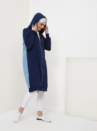 Blue - Navy Blue - Unlined - Cotton - Topcoat
