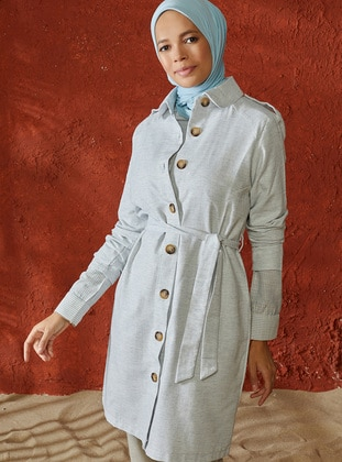 Blue - Unlined - Point Collar - Cotton - Topcoat - A point