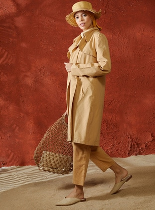 Beige - Unlined - Shawl Collar - Linen - Topcoat - A point