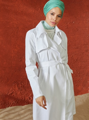 White - Unlined - Shawl Collar - Linen - Topcoat - A point