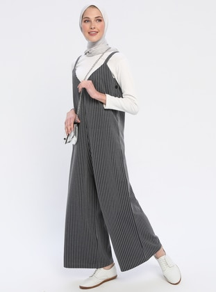 Smoke - Stripe - Unlined - V neck Collar - Jumpsuit