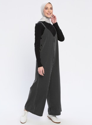 Black - Stripe - Unlined - V neck Collar - Jumpsuit - Çat Pat Tekstil