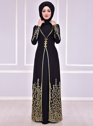 6c9e96ee93f Black - Unlined - Crew neck - Muslim Evening Dress