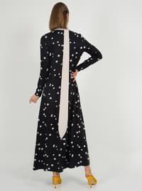 Siyah - Noktalı - Balıkçı Yaka - Astarsız kumaş - Elbise