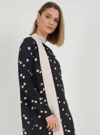 Black - Polka Dot - Polo neck - Unlined - Dress