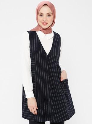 White - Navy Blue - Ecru - Stripe - Unlined - Cotton - Suit