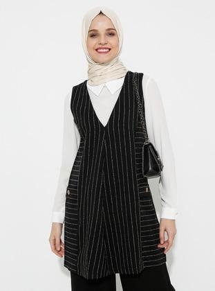 Black - White - Ecru - Stripe - Unlined - Cotton - Suit