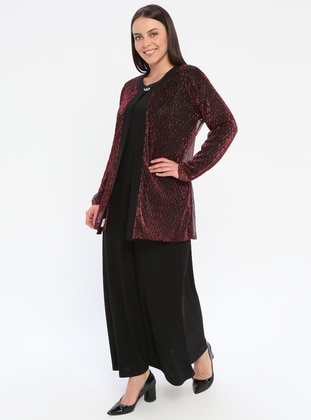 Black - Maroon - Crew neck - Unlined - Plus Size Evening Suit