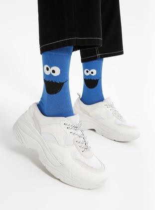 Navy Blue - Cotton - Socks