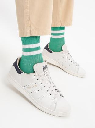 Green - White - Cotton - Socks