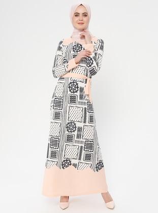 White - Ecru - Salmon - Multi - Crew neck - Unlined - Dress