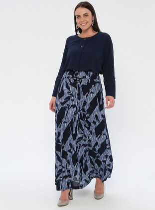 Navy Blue - Multi - Half Lined - Viscose - Plus Size Skirt