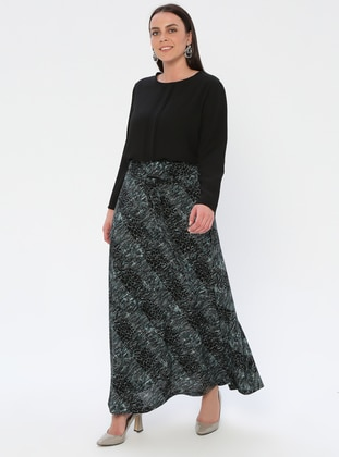 Blue - Black - Turquoise - Multi - Half Lined - Viscose - Plus Size Skirt