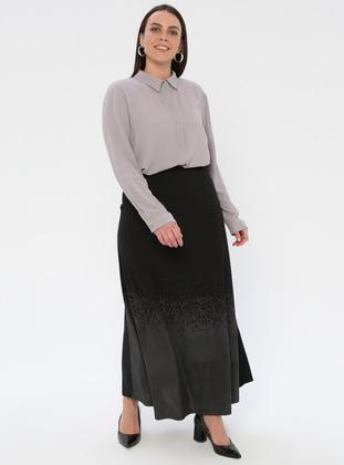 Black - Minc - Multi - Half Lined - Viscose - Plus Size Skirt