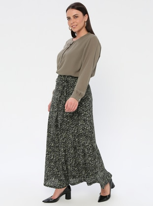 Green - Multi - Half Lined - Viscose - Plus Size Skirt