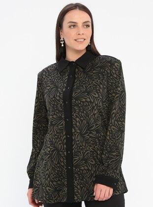 Khaki - Multi - Point Collar - Viscose - Plus Size Blouse