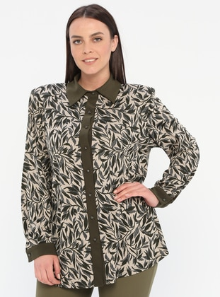 Khaki - Multi - Point Collar - Viscose - Plus Size Blouse - GELİNCE