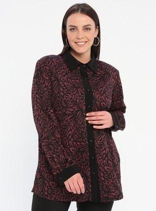 Plum - Multi - Point Collar - Viscose - Plus Size Blouse - GELİNCE