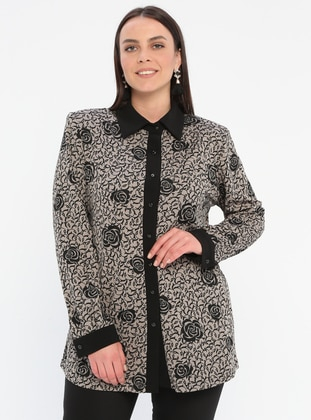 Minc - Multi - Point Collar - Viscose - Plus Size Blouse
