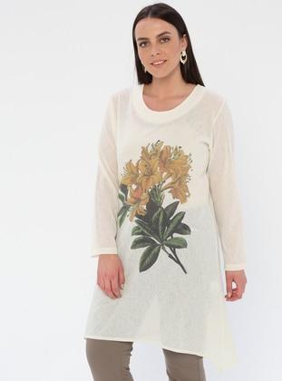 White - Ecru - Floral - Crew neck - Viscose - Plus Size Tunic
