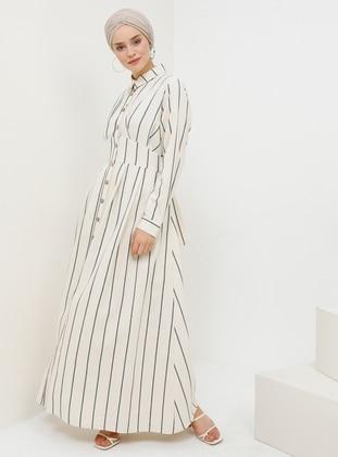 Green - Stripe - Point Collar - Unlined - Linen -  - Dress