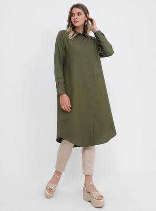 Khaki - Point Collar - Cotton - Plus Size Tunic - Alia