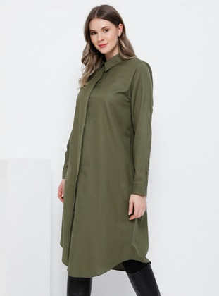 Khaki - Point Collar - Cotton - Plus Size Tunic