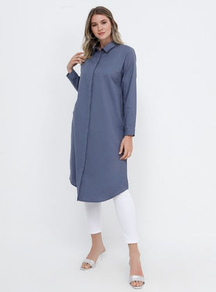 Lilac - Point Collar - Cotton - Plus Size Tunic - Alia
