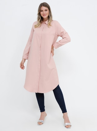 Powder - Point Collar - Cotton - Plus Size Tunic
