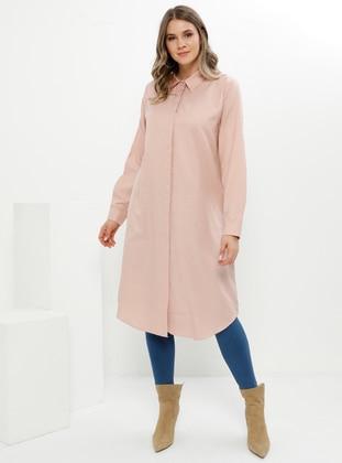 Powder - Point Collar - Cotton - Plus Size Tunic