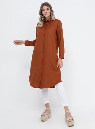 Tan - Point Collar - Cotton - Plus Size Tunic - Alia