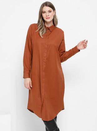 Tan - Point Collar - Cotton - Plus Size Tunic