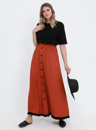 Terra Cotta - Unlined - Viscose - Plus Size Skirt
